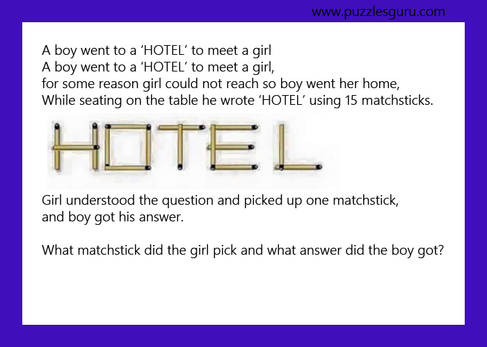 matchstick puzzles : a boy went to a 'hotel' to meet a girl