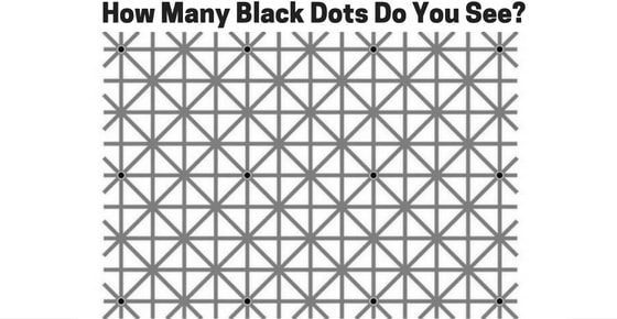 Answer of the puzzle How Many Black Dots Do you See? is  : 12  There are in total 12 black dots in the image. In the first column you will get three black dots and then again on 5th column you will get three black dots. Move further and on 9th and 13th columns you will get again three – three black dots. They all are in 1st, 5th and 9th row.